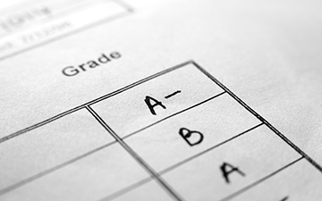 Report card with grades